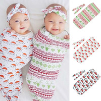 Wholesale newborn baby warm clothes for sale - Group buy Xmas Infant Swaddling Baby christmas Flower print Blanket Newborn Santa Claus sleeping bag With Headband or hat set C5503