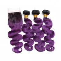 Wholesale ombre purple human hair extensions for sale - Group buy Purple Ombre Human Hair Weave Bundles with Top Closure Body Wave Black and Purple Ombre Virgin Hair Extensions with x4 Lace Closure