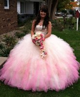 Wholesale new quinceanera dresses strapless coral organza for sale - Group buy New Elegant Quinceanera Dresses Ball Gown Pink And White Sleeveless Sweetheart Beaded Organza Layered Coral Girl Sweet Dresses