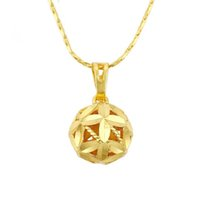 Wholesale 24k pure gold pendant - MGFam (202P) Ball Pendants Necklace For Women Fashion Jewelry 24k Pure Gold Plated 45 cm Snake Chain