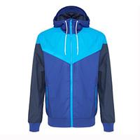 erkekler patchwork ceket toptan satış-Erkekler Spor Ceketler Tasarımcı Rüzgarlık Fermuar Hoodies Uzun Kollu Patchwork Palto Sıcak Kabanlar Erkek Koleji Spor