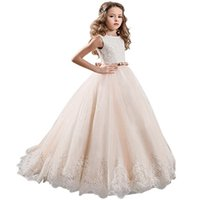 Wholesale Dress First Comunion - Fashion Champagne Lace Pageant Dresses For Girls Glitz Bow Sash Vestidos De Primera 2018 Flower Girl Dresses First Comunion Kids Formal Wear