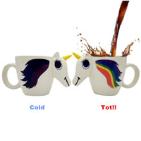 Wholesale temperature changing cups - Cartoon Unicorn Cup Ceramic Tumbler Magic Temperature Sensing Color Change Coffee Mug Children Birthday Gifts Hot Sale 20kb C R