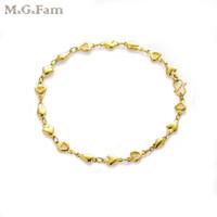 24 ayar altın bilezik kalpleri toptan satış-(248B) MGFam (21 cm * 5mm) 24 k Altın Kaplama Kalp Bilezikler Lady için güzel tarzı Kurşun ve Nikel Ücretsiz