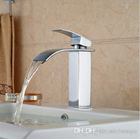 Wholesale Waterfall Bathroom Vessel Sink Faucet - Wholesale Deck Mount Waterfall Bathroom Faucet Vanity Vessel Sinks Mixer Tap Cold And Hot Water Tap Faucets