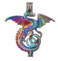 silberner diffusor anhänger großhandel-5 stücke Regenbogen Farbe Flying Dragon Perle Perlen Käfig Ätherisches Öl Diffusor Medaillon Anhänger DIY Schmuck Machen für Oyster Perle Geschenk C28