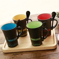 Wholesale Coffee Spoons Porcelain - Creative Hand Painted Mug Heat Resisting Gift Coffee Cup And Spoon Multi Color 4 5cx C R