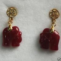 ingrosso immagine libera bella-Modo libero di qualità di trasporto Picturelovely rosso scolpito elefante orecchini GP