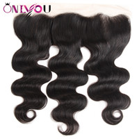 Wholesale free black hair products - Onlyou Hair Products Body Wave 13x4 Lace Frontal Ear to Ear Brazilian Virgin Hair Extensions Top Closures 10-22 inch Body Wave Hair Closure