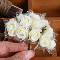 Wholesale mini foam wreaths resale online - Foam Flower CM Diameter Multicolor PE Rose Foam Mini Artificial Silk Flowers Bouquet Solid Color wedding Decoration Wreaths