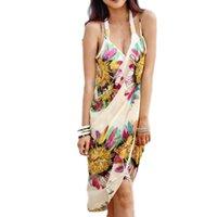 couvrir la robe de fleur achat en gros de-Femmes Beach Dress Strap Sexy Sling Open Back Fleur Imprimé Plage Porter Robe Sarong Bikini Cover-up Wrap Pareo Jupes Serviette