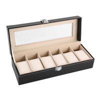 porta-relógio venda por atacado-6 Grade Preto PU Leather Watch Box Refinamento Slots de pulso Display Case Jóias Organizador caixas de armazenamento Titular