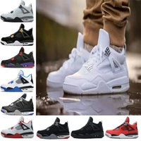 Wholesale mens basketball shoes low - 2018 4 4s Basketball Shoes men Pure Money Royalty White Cement Raptors Black cat Bred Fire Red mens trainers Sports Sneakers size 8-13