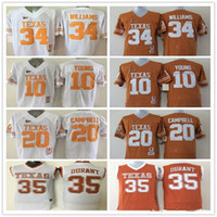 texas longhorns jerseys al por mayor-10 Vince YOUNG 12 Colt McCoy 34 Connor Williams 35 camisetas de Kevin Durant 20 Earl Campbell College Texas Longhorns camiseta deportiva de fútbol para hombres