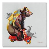 известный искусствовед ткани оптовых-Чистая ручная роспись мульти-талант медведь велосипед живопись отель гостиная высокого класса украшения живопись домашний офис