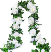 ingrosso piante artificiali da giardino pendenti-6.5Ft Artificiale Rose Vine Fiore di Seta Ghirlanda Appesa Cesti Piante Home Outdoor Wedding Arch Decorazione della parete del giardino