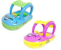 barcos de natación al por mayor-Volante del verano sombrilla anillo de natación coche inflable flotador del bebé asiento barco piscina herramientas accesorios para niños juguetes