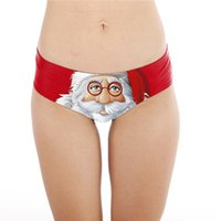 20a040cf6504 christmas underwear Canada - Red Santa Claus Digital Printing Underpants  Women Xmas Underwear Hot Christmas Panties