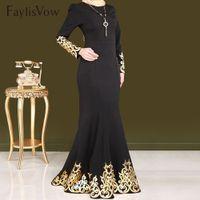 ingrosso abaya stile abito-Stile donne musulmane Abito stampa oro stampaggio manica lunga abiti Dubai Abaya caftano nero abito islamico musulmano abbigliamento