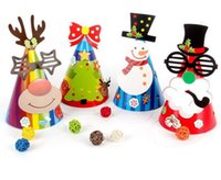 papier weihnachten hüte großhandel-Weihnachten Papier Hut Festival Dekorationen Hut Papierkappe DIY Kegel Hüte Kinder Geschenk Party Supplies Foto Requisiten