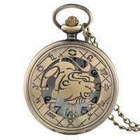 Wholesale Necklaces Collection - Twelve Constellations Leo Bronze Pocket Watches Retro Pendant Necklace Men's Women's Cool Quartz Half Hunter Necklace Chain Collection Gifts