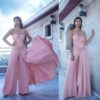 Wholesale trendy jumpsuits - Trendy Lace Sheer Evening Dresses Jumpsuit Pink Satin Saudi Arabia Vestidos De Festa Long Party Dress Prom Formal Pageant Celebrity Gowns