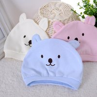 Wholesale crochet newborn bear hats resale online - Design Ins newborn purified cotton baby beanie hat bear caps baby infant hats cartoon cotton cute printed hat