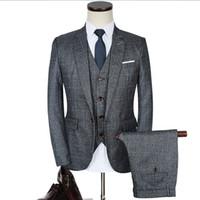 lüks düğün smokinleri toptan satış-Lüks Erkek Gri Takım Elbise 3 parça Ceket + Pantolon + Yelek Resmi Elbise çin boyutu Erkekler Suit Set erkekler düğün takımları ekose damat smokin