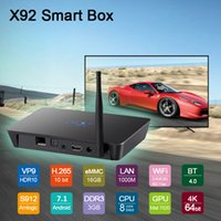 Wholesale android dual lan for sale - Group buy Android TV Box X92 GB GB Octa core S912 chipest Dual band WIFI Gigabit Lan BT4 Smart Television Media Player