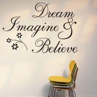 cotizaciones de pared de vinilo para dormitorio. al por mayor-DREAM IMAGIN CREE pegatinas de pared Pegatinas de vinilo inspirado arte de la pared calcomanías para sala de estar dormitorio y estudio decoración