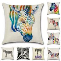 zebra yastık kılıfları toptan satış-Yeni Mulitcolor Yastık Kılıfı Sıcak Pamuk Yastık Kılıfı Suluboya Hayvan Zebra Yastık Minder Örtüsü Ev Dekor