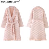 vestidos de noche de las señoras al por mayor-CAVME elegante traje del invierno para las mujeres señoras de Femme Albornoz Espesar larga túnica rosa del vestido de noche de color Vestir ropa de dormir Homewear