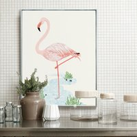 Wholesale Metal Picture Prints - Christmas Home Decoration Aluminum Alloy Metal Paintings Frame Print Animal Flamingo Canvas Painting Nordic Picture Photo Frame