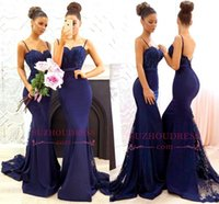 Wholesale spaghetti strapped black long dress online - 2018 New Arrival Country Navy Blue Bridesmaid Dresses Mermaid Spaghetti Straps Floor Length Maid of Honor Dresses Formal Dresses Prom Gowns