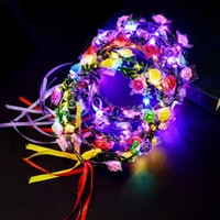 ingrosso abiti da sposa fiori artificiali-Hawaii Girls Women Light Up Fascia Garland Corona artificiale LED Flowers Dress Glow Light Decorazione di cerimonia nuziale del partito
