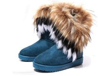 Wholesale nubuck leather fox fur boots resale online - Fashion Fox Fur Warm Autumn Winter Wedges Snow Women Boots Shoes GenuineI Mitation Lady Short Boots Casual Long Snow Shoes size