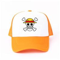 ingrosso ragazzo giapponese anime cosplay-Berretto da baseball per bambini One Piece Berretto da baseball carino giapponese Anime Cosplay Ragazza Boy Trafalgar Law Skull Snapback Cap Halloween YF003