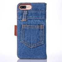 Wholesale Denim Phone Cases - Retro Denim Cloth Phone Case For Iphone 6 6s 7 7 Plus Case Flip Stand Card Slot Wallet Coque Bag For Iphone 7 6s Plus Cover Capa