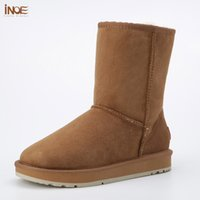 Wholesale wool lined snow boots - INOE real sheepskin leather winter snow boots for women fur wool lined winter shoes flats high quality drop-ship