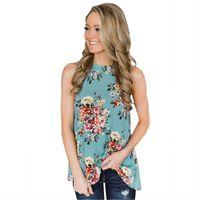 recorte de la camiseta al por mayor-Las mujeres nuevas de verano estampado floral cuello alto espalda recortada sin mangas casuales camisetas sin mangas lindo bordado chaleco superior