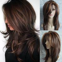 larga peluca rizada rubia natural al por mayor-ZF Blonde Mix Color marrón Curly Nature Look Pelucas de hebilla mullidas Pelucas medianas largas y rectas para las mujeres
