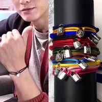 ingrosso marche famose di braccialetto uomini-Acciaio inossidabile 316L LOCK string Braccialetto LOCKING HEAD braccialetti coppia cinturino per le donne e gli uomini moda jewwelry marca famosa