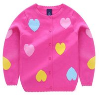 Wholesale light pink sweaters resale online - Baby Sweater Colorful Heart shape Cardigan Spring Summer Air Conditioner Style Colors Hot Pink Light Purple