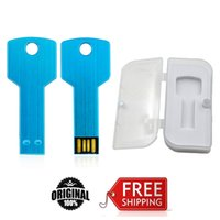 Wholesale Metal Usb Flash Drive 256gb - HanDisk Key Type Blue NEW USB Flash Drives 16GB 32GB 64GB 128GB 256GB Metal write Free shipping USB 2.0 High speed EU024