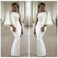 weiße formale kleider für frauen großhandel-Abendkleider Tragen Weiß Eine Schulter Halbarm Mermaid Formale Perlen Afrikanische Dubai Frauen 2019 Lange Mantel Prom Robe De Soiree Kleid