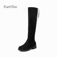 botas de gamuza micro al por mayor-2018 New Autumn Knee High Women Shoes Low Heel Micro estiramiento del eje Botas altas de gamuza del estiramiento más el tamaño 40-48 beige / C8-32