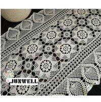 crochê de mesa artesanal venda por atacado-Junwell Handmade Crochet Flower Lace Table Runner Estilo Rural Europeu Escavar Rústico Tampa de Tabela Cômoda Decoração Lavável