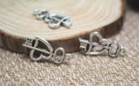 antike herz schlüssel anhänger großhandel-25pcs / lot-- Herz-Schlüsselcharme, antiker silberner Ton Herz-Schlüsselcharme-Anhänger 23x13mm