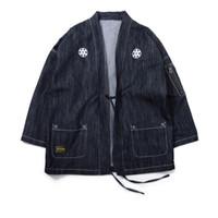 ingrosso giappone cappotto stile uomini-Kimono giapponese Giacche Giappone Zipper Pocket ricamo uomini 2018 Streetwear Moda maschile Hip Hop cappotti casuali