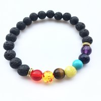 Wholesale rock drops - Black Lava Rock 8mm Beads 7 Chakra Healing Balance Bracelet for Men Women Reiki Prayer Stone Yoga Chakra Bracelet Drop Shipping